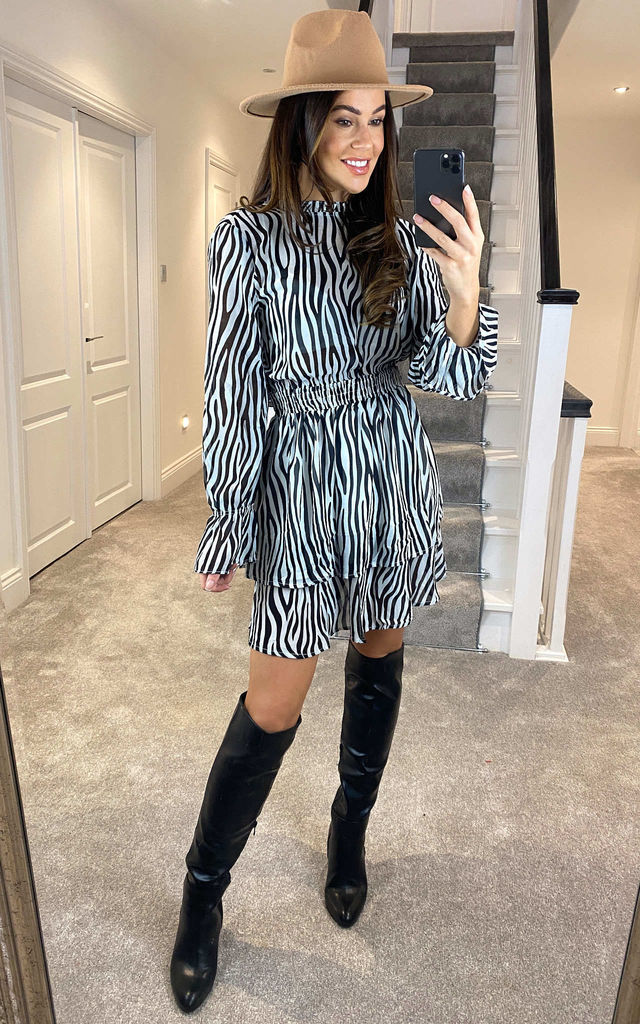 Eyes On Fire - Zebra Print Mini Dress by Goldie
