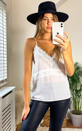 Cami Top with Lace in White by VILA