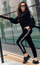 Comfy Tracksuit with Decorative Strap in Black by Makadamia
