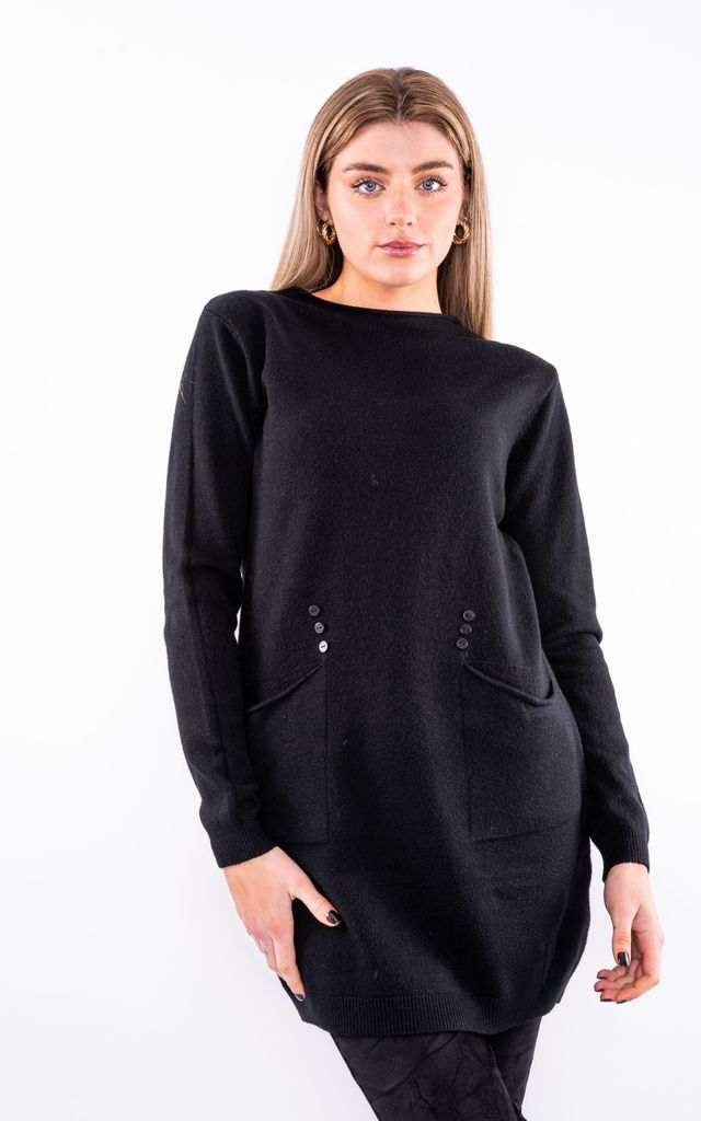 Jumper Dress W/ Front Pockets (Black) by Lucy Sparks