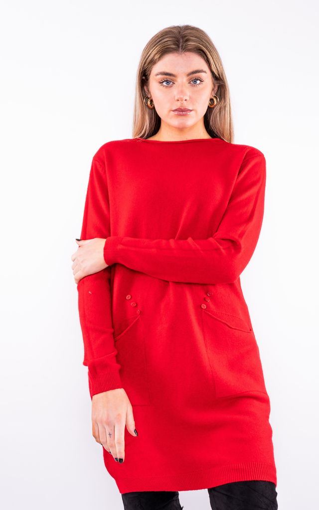 Jumper Dress W/ Front Pockets (Red) by Lucy Sparks