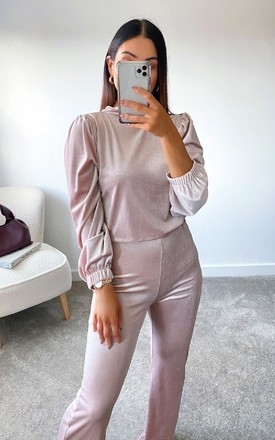 Cole Velvet Co-ord in Pink by IKRUSH