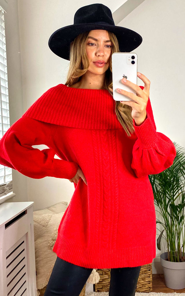 Eydie Red balloon sleeve cowl neck jumper by Faux