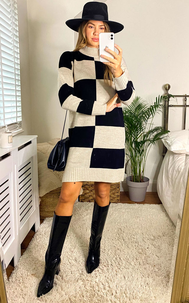 Maisey Black/Cream Colour Block Jumper Dress by Faux