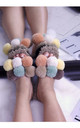 Fluffy Faux Fur Pompom Slide Slippers in Multi by ANGELEYE