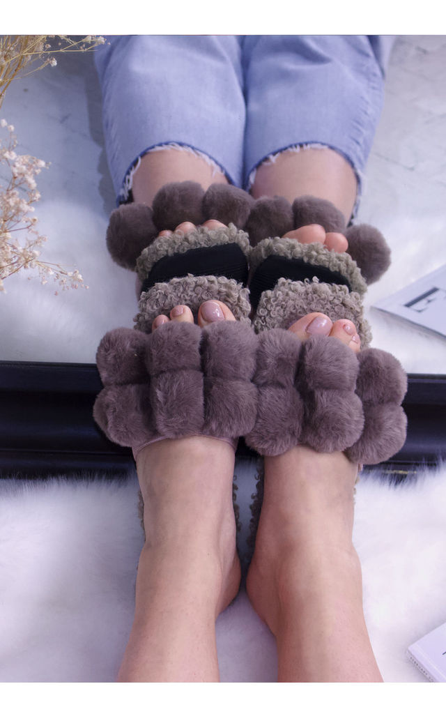Fluffy Faux Fur Pompom Slide Slippers in Brown by ANGELEYE