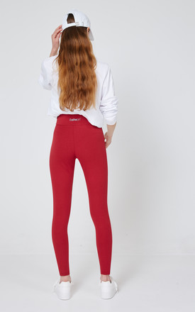 fasheon Red Classic High Waisted Leggings by fasheon