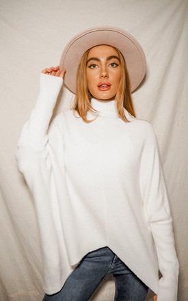 Hope Ivory Knitted Oversized High Neck Jumper by Style Cheat