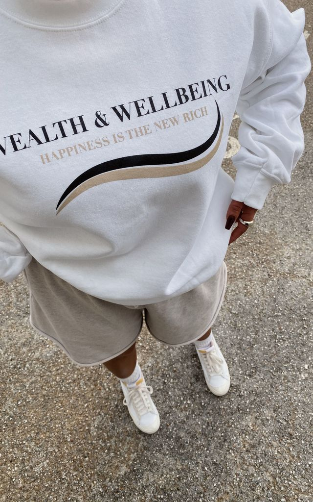 Wealth and wellbeing slogan sweater by Pharaoh London