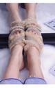 Fluffy Faux Fur Crossover Slide Slippers in Beige by ANGELEYE