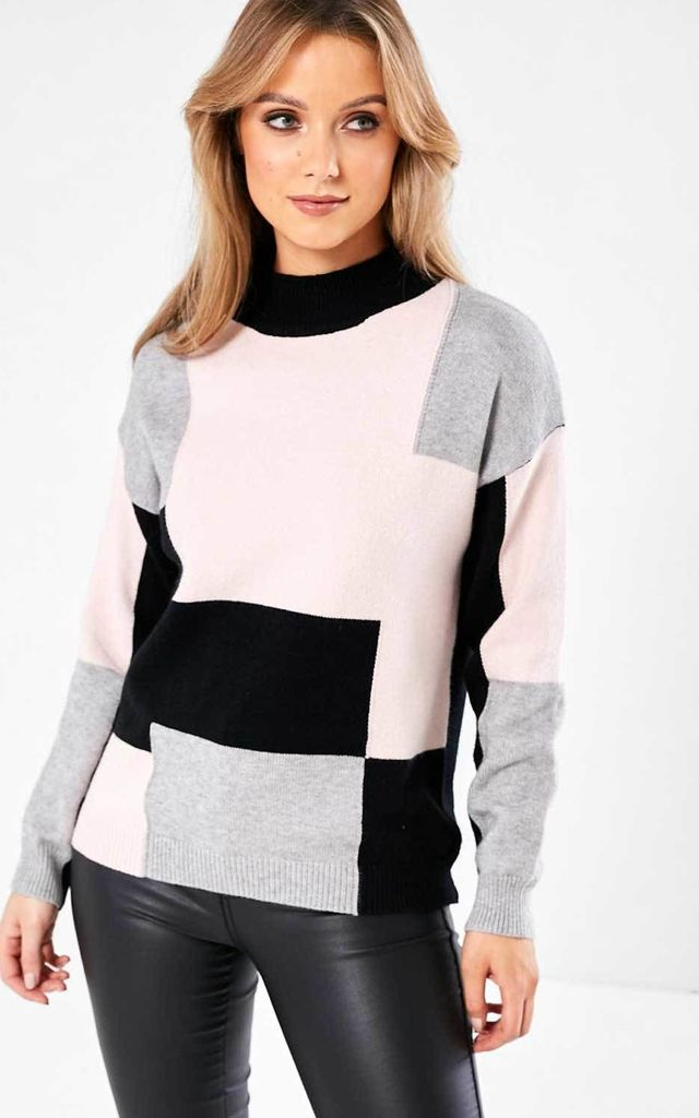 Colour Block Knit Jumper in Blush by Marc Angelo