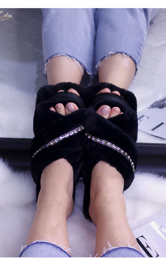 Fluffy Faux Fur Rhinestones Crossover Slide Slippers in Black by ANGELEYE