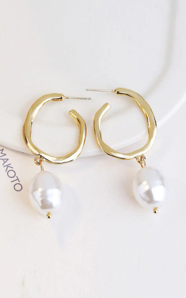 Tommi Faux Pearl Textured Drop Earrings by Hey Pretty