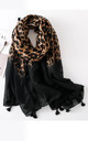 Dip-Dye Black Leopard Print Tassel Detail Scarf by FS Collection