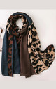 Colour Block Navy Blue & Brown & Leopard Print Scarf by FS Collection