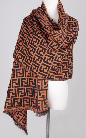 Camel & Black Letters Striped print Scarf by FS Collection