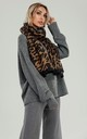 Coffee Brown Leopard Print Scarf In Black by FS Collection