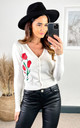 Floral Printed Cardigan in white by Hearts and Roses London