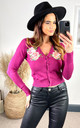 Rose Embroided Cardigan in Wine by Hearts and Roses London