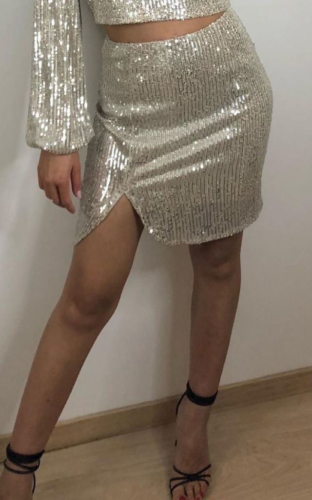 Gianni - Glitter Champagne Mini Skirt by Goldie