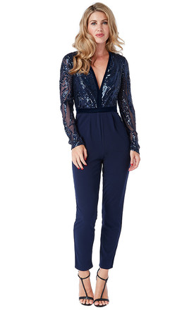 DEEP V NECK SEQUIN EMBROIDERED JUMPSUIT by Goddiva