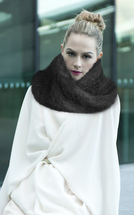 Infinity Charcoal Faux Fur Snood Scarf by Isabel Wong