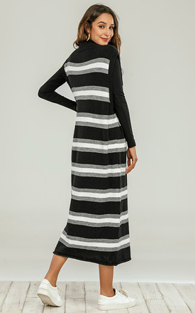 V Neck Long Vest In Black With White & Grey Stripe by FS Collection