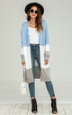 Colour Block Midi Cardigan In Blue & Grey & White by FS Collection