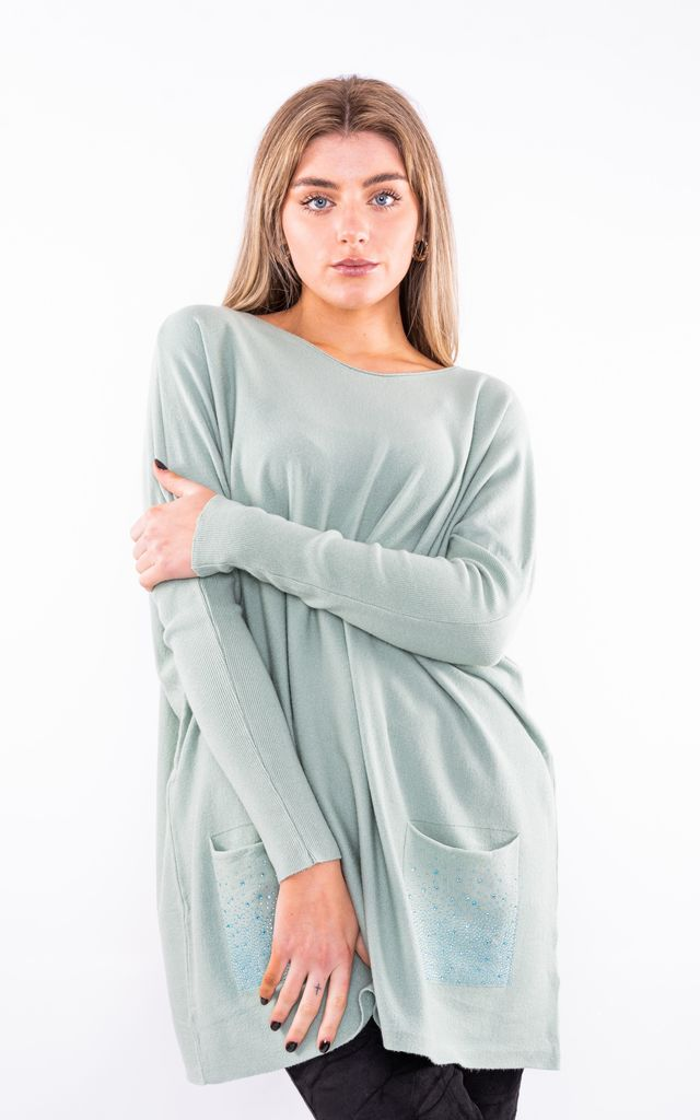 Casual Jumper with sparkle pockets (Green) by Lucy Sparks