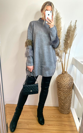 Jumper with Leopard Print Faux Fur and stud embellished sleeves in Grey by CY Boutique