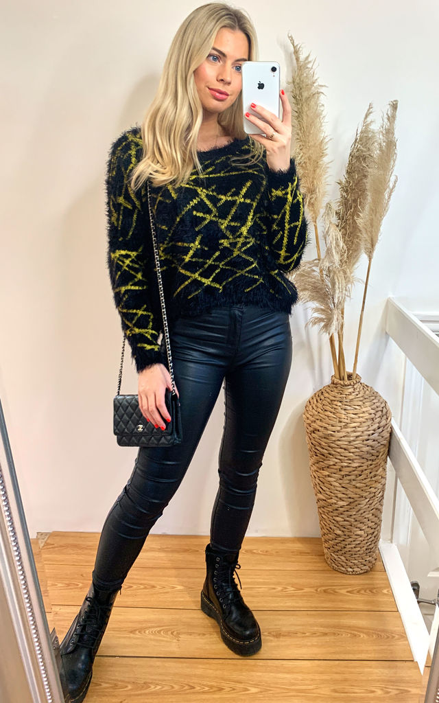 Mix Stripe Neon Colour Fluffy Jumper in yellow by CY Boutique