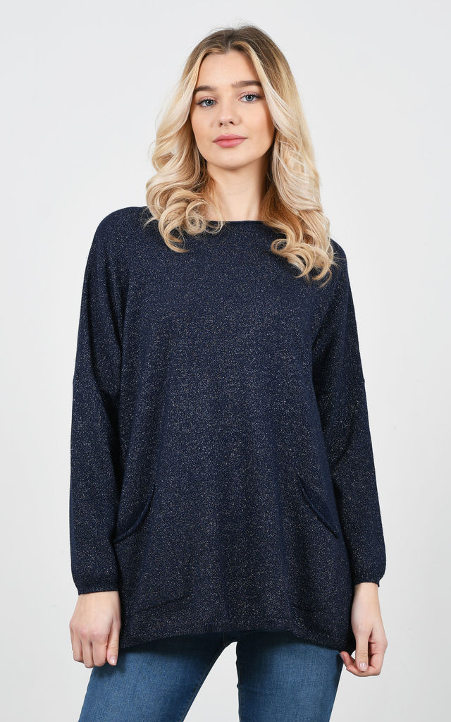 Soft casual sparkle thread jumper (Blue) by Lucy Sparks