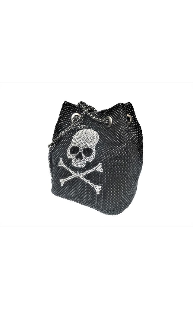 Black Metallic Mesh Drawstring Bag with Crystal Skull Design by East Village