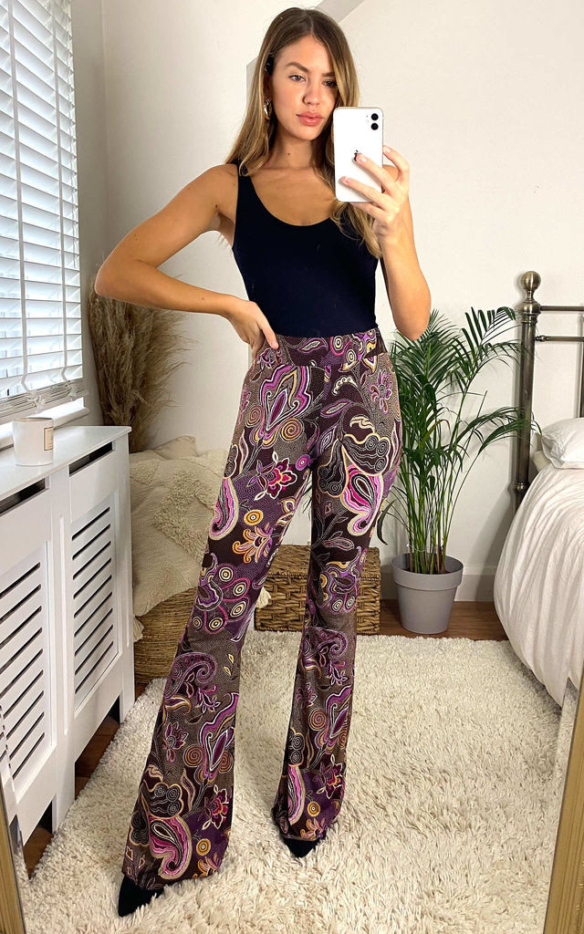 berry paisley flared trousers by Mccullock Women