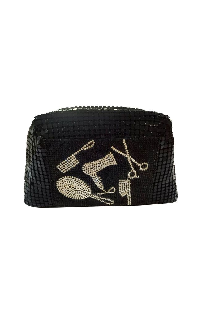 Black Metallic Mesh Bag with Crystal Decoration by East Village