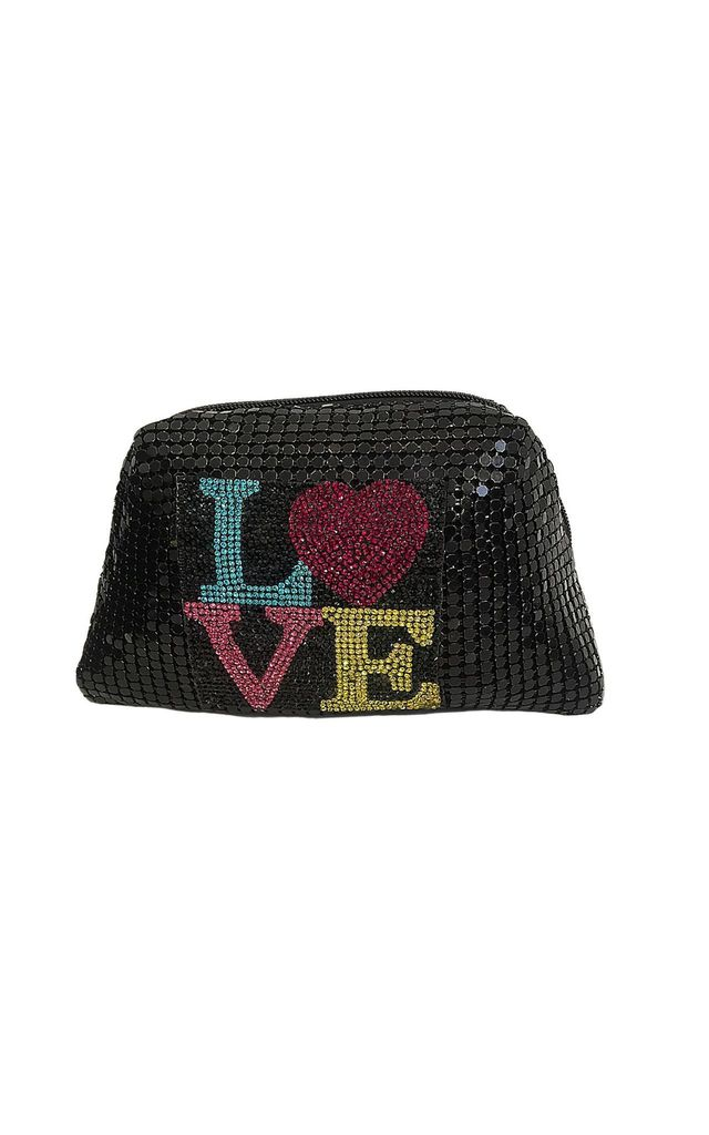 Black Metallic Mesh Bag with Crystal LOVE Detail by East Village
