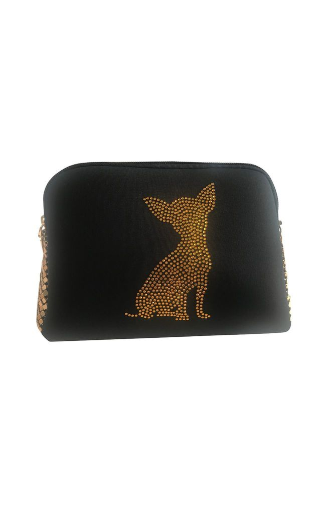 Black Neprene and Metallic Mesh Bag with Crystal Chihuahua Design by East Village