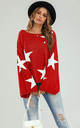 Wide Sleeve Oversize Red Jumper With White Star by FS Collection