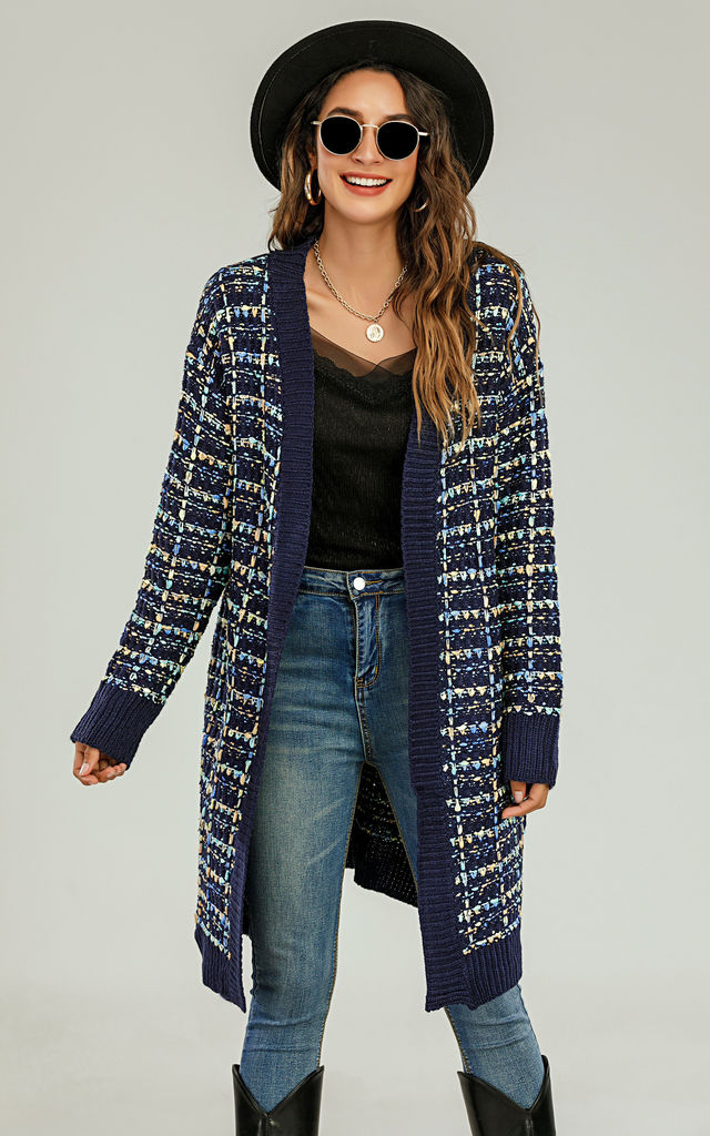 Boucle Check Cardigen In Navy Blue With Multicolour Speckles by FS Collection