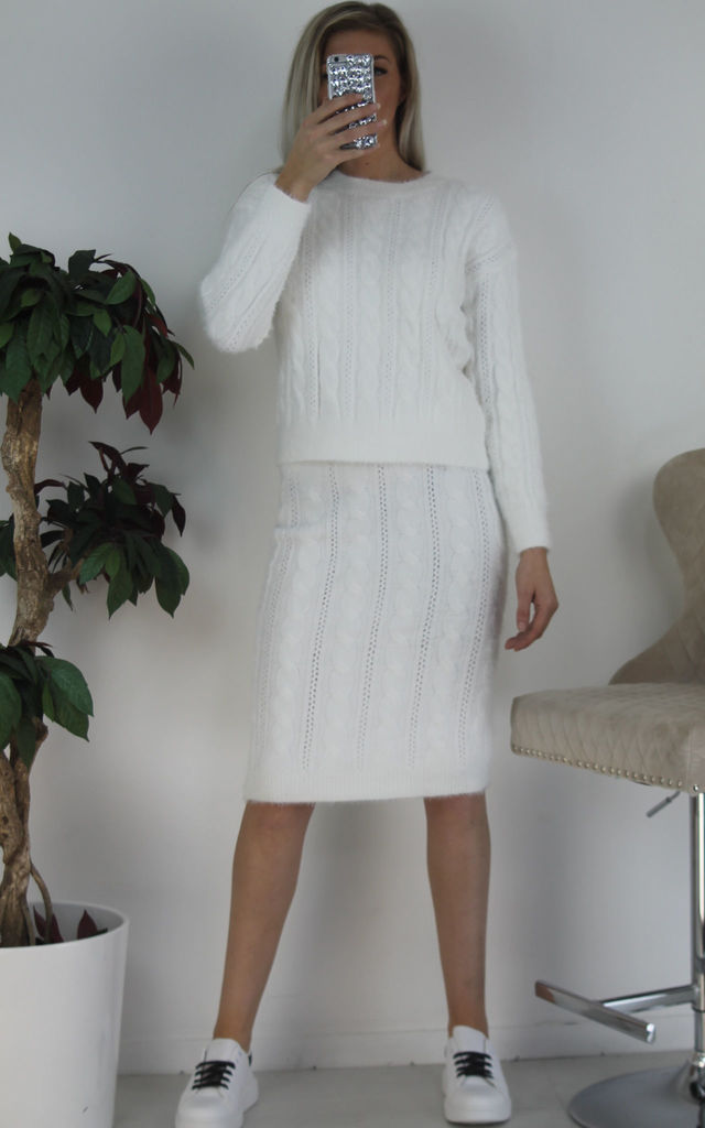 White Furry Woven Knit Jumper & Midi Skirt Co-ord Set by Boutique Store