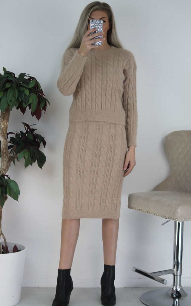 Camel Furry Woven Knit Jumper & Midi Skirt Co-ord Set by Boutique Store