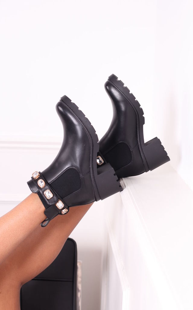 Rae Black Nappa Chunky Heeled Boot With Removable Jewel Strap by Linzi