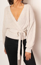 Chunky Knit Wrap Over Cardigan in Cream by One Nation Clothing
