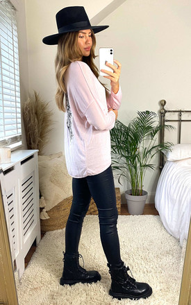 Pink Angel Wing Print Sweatshirt by Izabel London