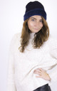 Knitted Fluffy Plush Inside Beanie in Navy by ANGELEYE