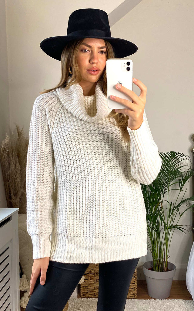 Nolla Cream Cowl Roll Neck Jumper by Faux