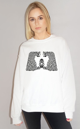 Black Leopards Print Jumper In White by Sade Farrell