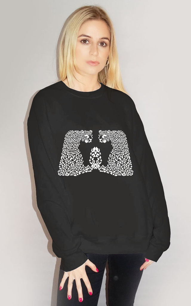 White Leopards Print Jumper In Black by Sade Farrell