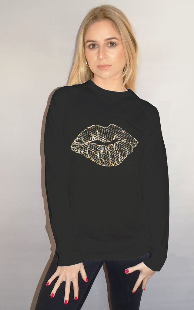 Gold Iridescent Honeycomb Lip Line  Print Oversize Jumper in Black by Sade Farrell