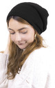 Knitted Maxi Beanie in Black by ANGELEYE